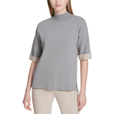 Calvin Klein Womens Pullover Sweater Contrast Cuffed - L