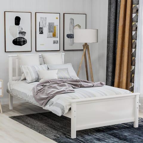 Twin Wood Platform Bed with Headboard Footboard