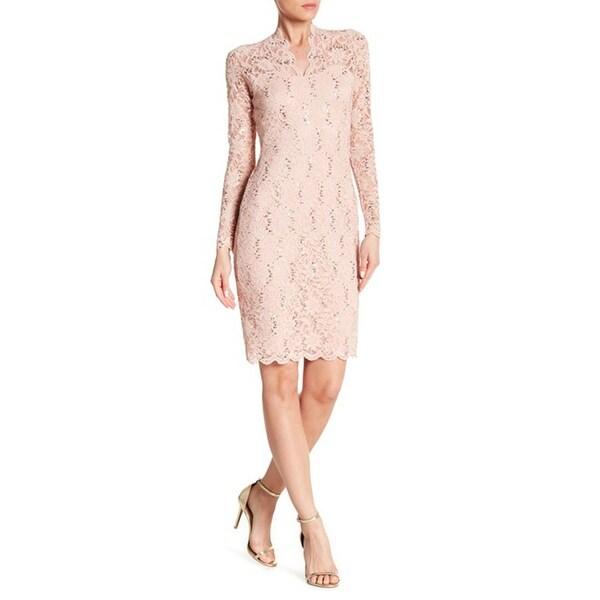 Blush lace detail long sleeve bodycon dress