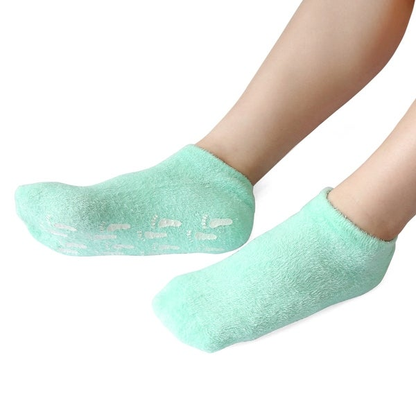 1 Pair Green Soften Cracked Skin Moisturising Spa Treatment Anti-slip Gel Socks