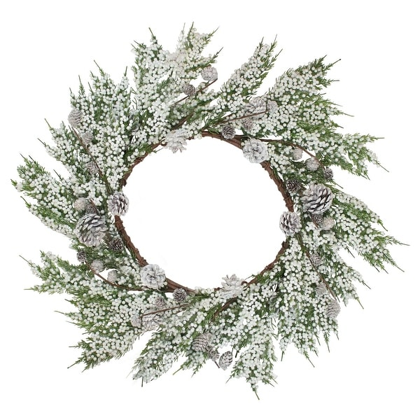 "24"" White Berries and Pinecones Artificial Christmas Wreath - Unlit"