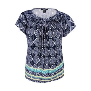Style & Co. Women's Printed Pleated Top - l