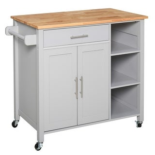 Link to HOMCOM Wooden Rolling Kitchen Storage Island on 360° Swivel Wheels Dining Cart with Drawer for Kitchen Similar Items in Kitchen Furniture