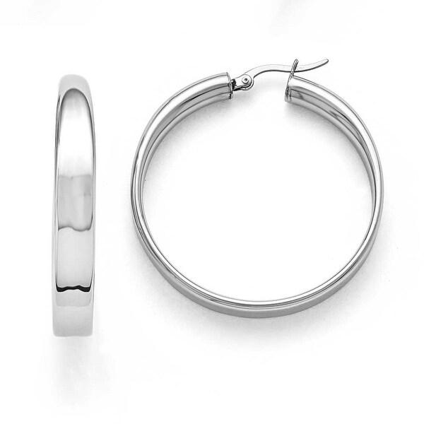 Chisel Stainless Steel Polished 6.75mm Hoop Earrings