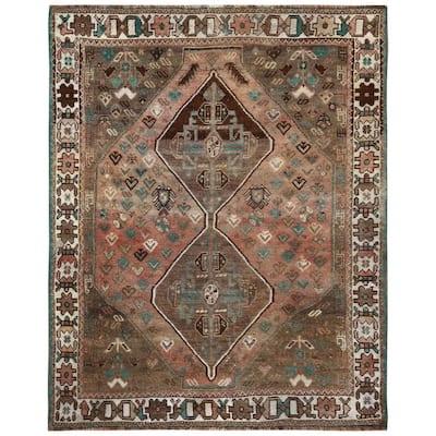 "Shahbanu Rugs Bohemian Coral Color Persian Shiraz Hand Knotted Old Sheared Low Organic Wool Abrash Clean Rug (4'1""x5'4"")"