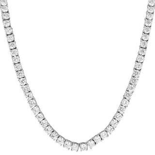 "22"" Mens Tennis Necklace Lab Diamond Hip Hop 4mm 1 Row Silver Tone Iced"