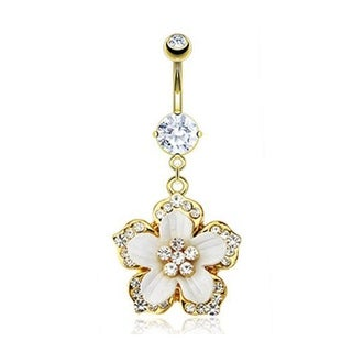 Gold Plated Stainless Steel Navel Belly Button Ring White Epoxy with CZ Hawaiian Flower