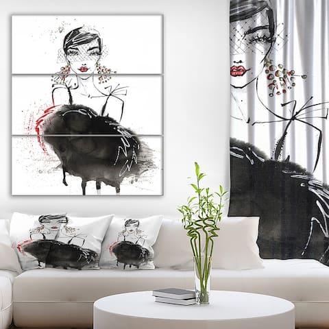 Designart 'Elegant Girl' Glamour Print on Wrapped Canvas set - 28x36 - 3 Panels