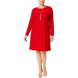 Jessica Howard Womens Plus Sweaterdress Knit Pintuck