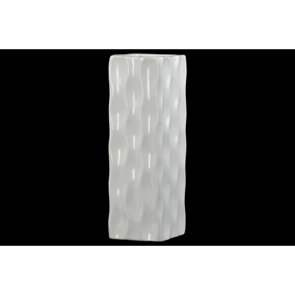 Square Shaped Ceramic Vase With Wavy Pattern, Large, Glossy White