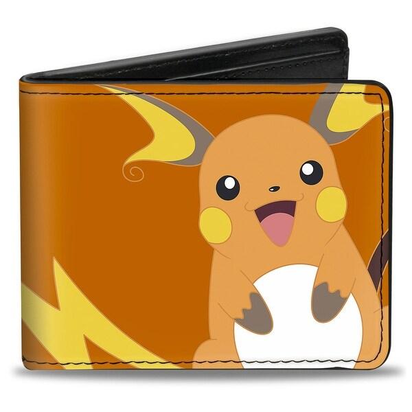 Raichu Smiling Pose + Pokmon Logo Orange Yellow Bi Fold Wallet - One Size Fits most
