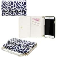 "JAVOedge Blue Swirl Print Clutch Style Wallet Case / Card Holder with Removable Wristlet for Apple iPhone 6 Plus (5.5"") - cotton"