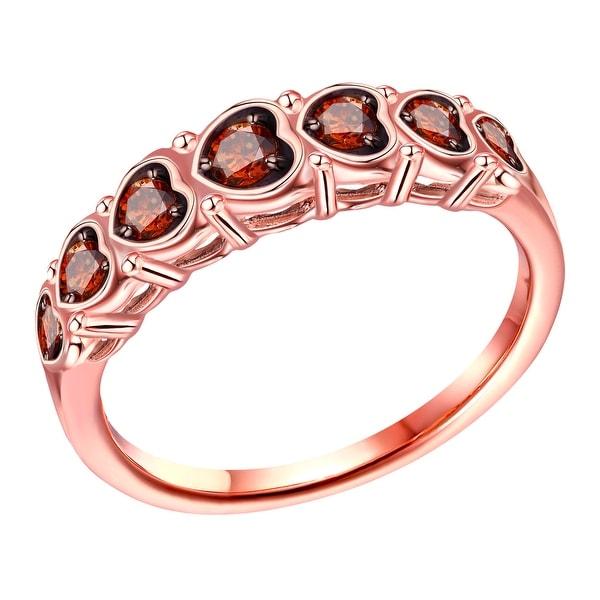 Prism Jewel 0.25Ct Cognac Color Diamond Designer 7-Sotne Ring