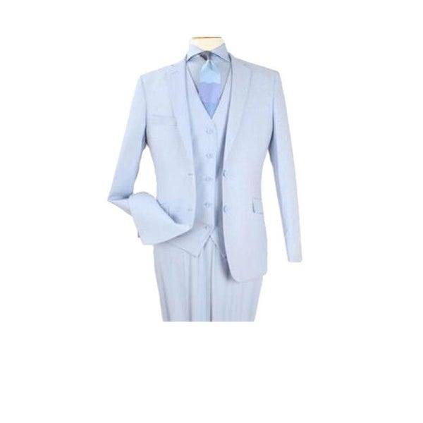 Alberto Nardoni Mens 3 Piece Modern Fit Poly Rayon Vested Blue Suit Flat Front Pants