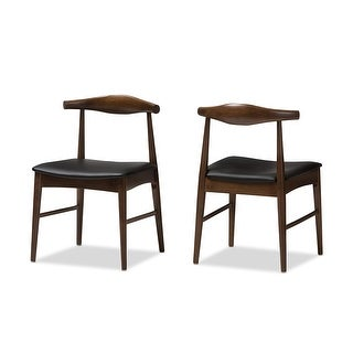Winton Mid-Century Walnut Wood Faux Leather Dining Chair - 2pcs