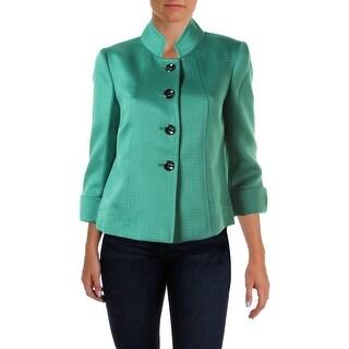 Tahari ASL Womens Petites Gina Textured Cuffed Four-Button Blazer