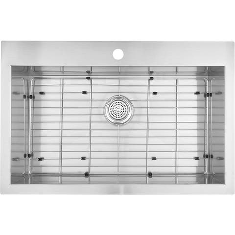 """Artika SS3120T18-CCA 31""""x20"""" Single Bowl Undermount or Drop-in 18 Gauge Kitchen Sink Stainless Steel with Grids Included"""