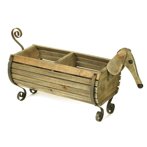 Wooden Dachshund Flower Planter - Indoor/Outdoor Wiener Dog Shaped Barrel Container Holds Plants, Magazines, Dog Toys, Decor