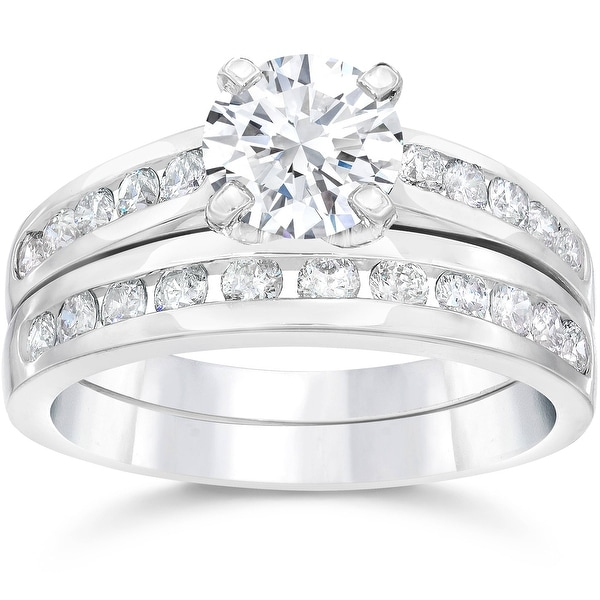 2 Ct Diamond Engagement Wedding Ring Set Channel Set 14k White Gold Clarity Enhanced. Opens flyout.