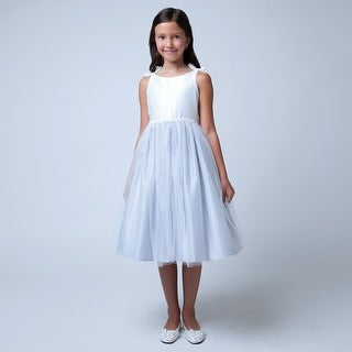Sweet Kids Girls Off White Silver Satin Bows Organza Easter Dress 7-12 (4 options available)