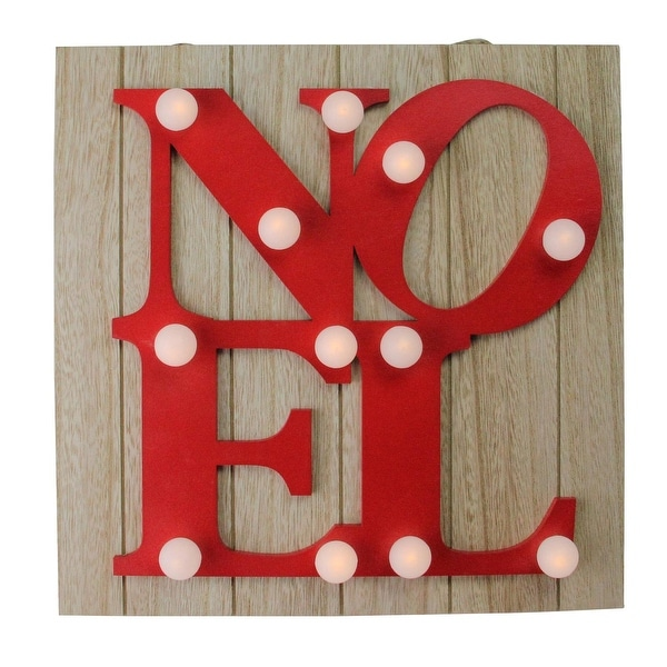 "10"" Candy Apple Red Letter Noel Decorative Battery Operated Wall Decor"