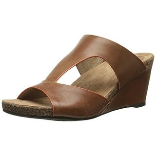 SoftWalk Womens Jermaine Leather Slide Wedge Sandals