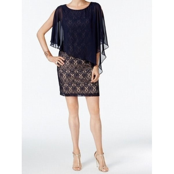 3ec25727 Shop Connected Apparel Navy Blue Women's Size 6 Overlay Sheath Dress - Free  Shipping On Orders Over $45 - Overstock - 22526801