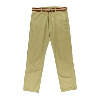 Haggar Mens Westover Solid Flat Front Casual Pants