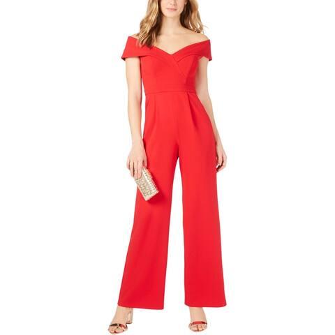 Xscape Womens Jumpsuit Off-The-Shoulder Portrait - Red