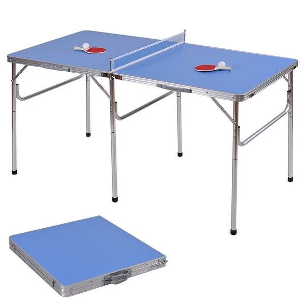 Costway 60u0026#x27;u0026#x27; Portable Table Tennis Folding Table W/
