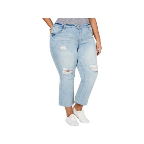 Dollhouse Womens Juniors Farrah Cropped Jeans Distressed Flare - Snowy Blue