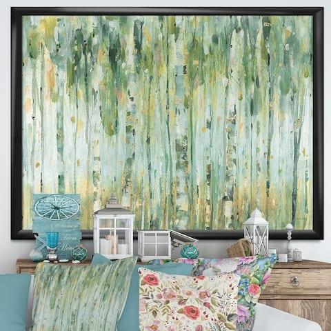 Designart 'Golden Birch Forest V' Modern Farmhouse Framed Art Print