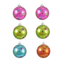"6ct Colorful Swirl and Dot Shatterproof Christmas Ball Ornaments 3.25"" (80mm)"