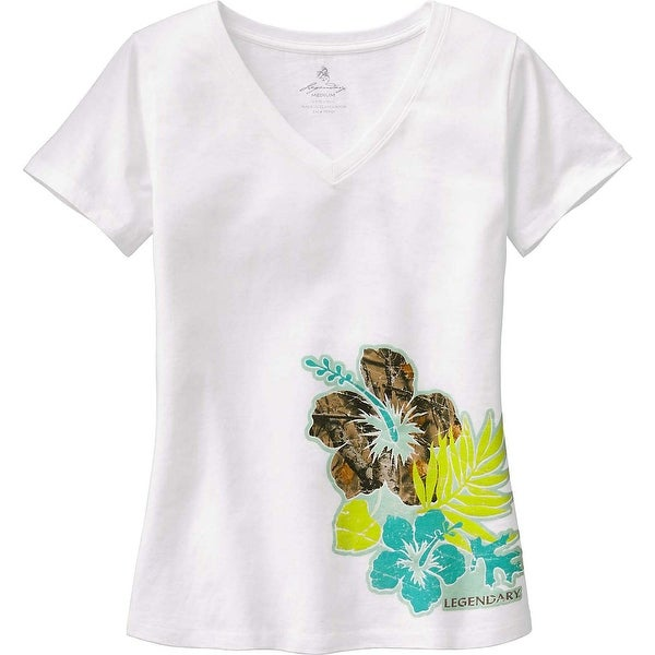 Legendary Whitetails Ladies Camo Oasis V-Neck T-Shirt - White