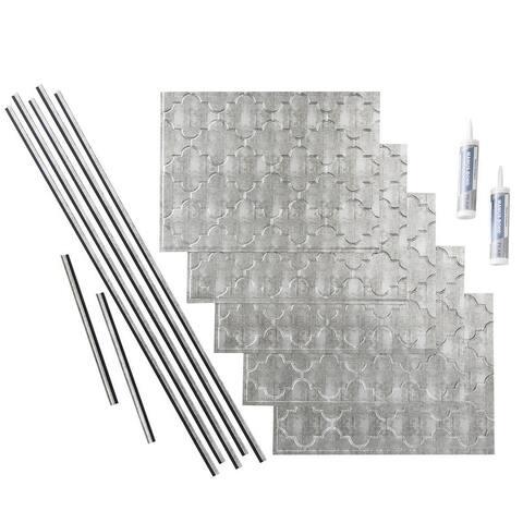 Fasade Monoco Crosshatch Silver 15-square Foot Backsplash 15 Sq Ft Kit