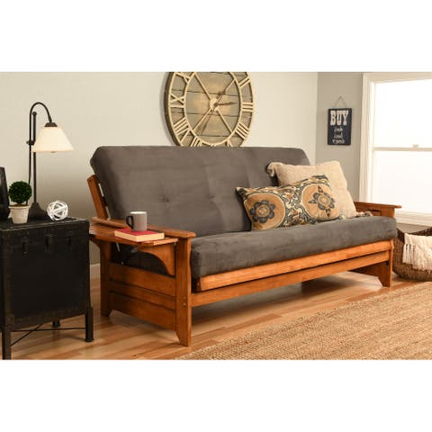 Copper Grove Dixie Honey Oak Full-size Wood Futon Frame with Innerspring Suede Mattress