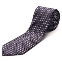 Luciano Barbera Men's Slim Silk Neck Tie Navy Brown