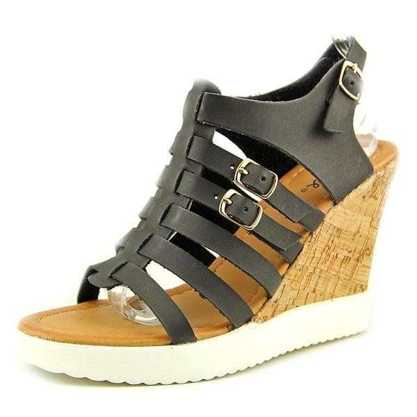 Qupid Happa 03 Women Open Toe Synthetic Black Wedge Heel