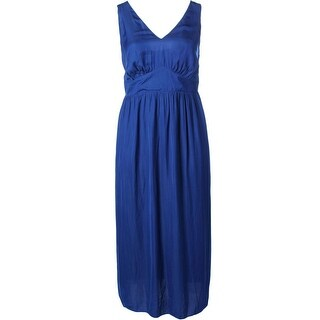Vince Camuto Womens Plus Ruched Sleeveless Maxi Dress