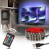 USB LED Multicolor RGB TV Backlight Kit,4pcs 20 inch Waterproof Strip Lights