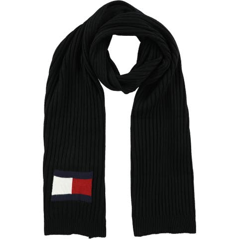 Tommy Hilfiger Mens Cable Knit Scarf, black, One Size - One Size