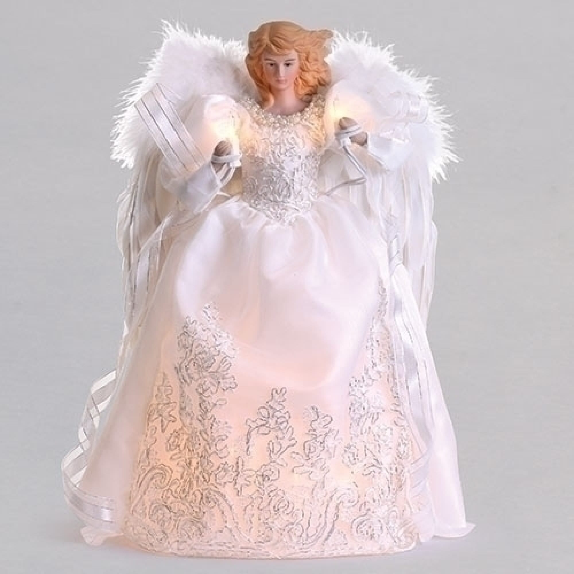 Christmas Angel Tree Topper.14 White And Silver Led Christmas Angel Tree Topper N A