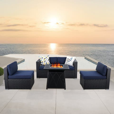 """PHI VILLA 5-Piece Set with Gas Fire Pit Table 28""""×28"""" 50,000BTU & Rattan Wicker Sectional Sofa"""