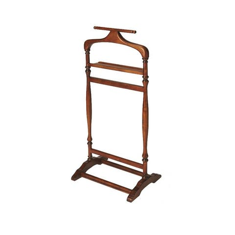 Offex Traditional Wooden Valet Stand in Olive Ash Burl Finish - Medium Brown