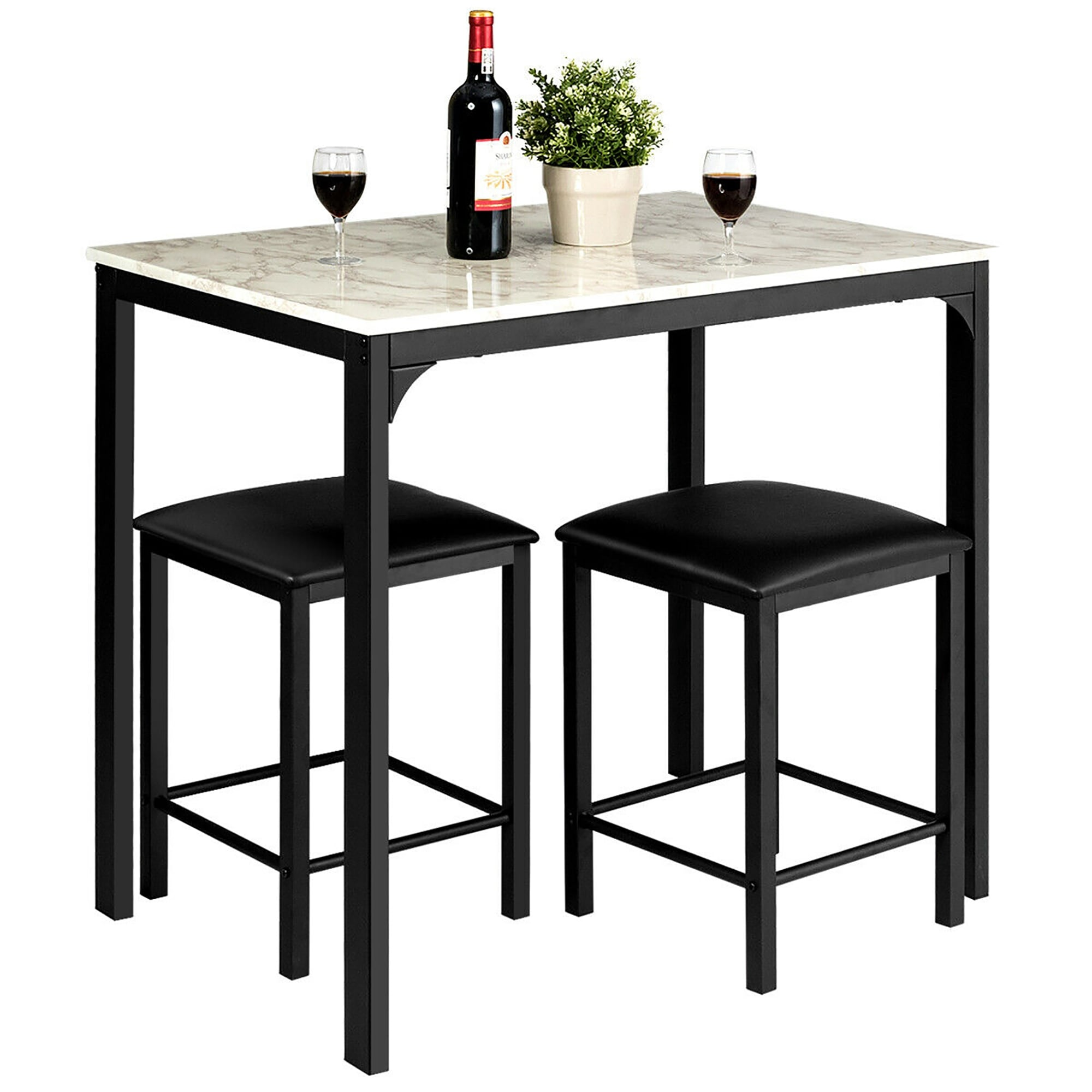 9 Piece Counter Height Dining Set Faux Marble Table 9 Chairs Kitchen