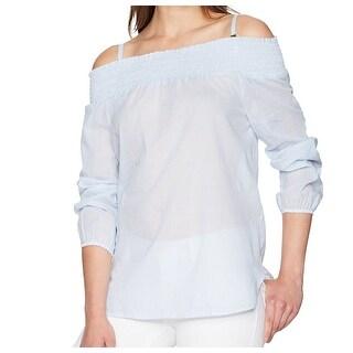 Calvin Klein NEW Blue Pinstripe Off-Shoulder Large L Smocked Blouse