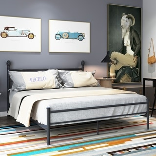 Metal Bed Frame with Headboard and Footboard Full Size