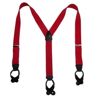 CTM® Men's Elastic Button End Dress Suspenders with Silver Hardware - One Size
