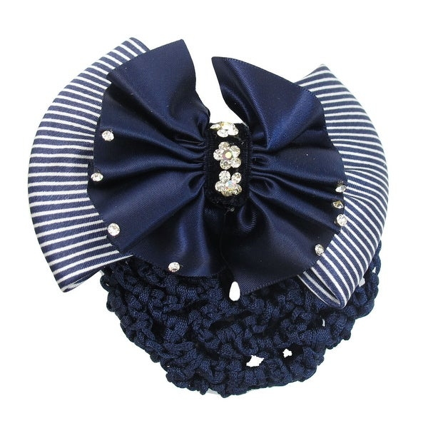 Unique Bargains Ladies Rhinestone Detail Dual Layers Bowtie Stewardess Hair Clip