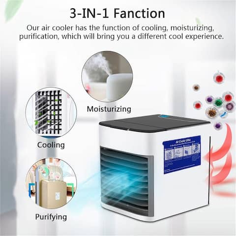 NewAge 3 in 1 USB Mini Portable USB Personal Space Air Conditioner Fan with Air Cooler